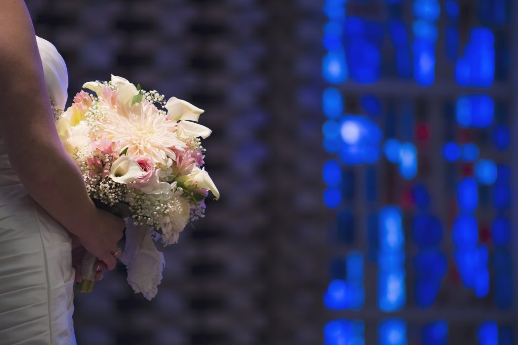 Bride with Bouquet, blue back ground